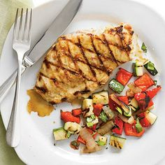 Grilled Chicken and Garden Salsa | Top tender grilled chicken with a fresh salsa of zucchini, bell pepper, onion and basil for a colorful one-dish meal. | SouthernLiving.com