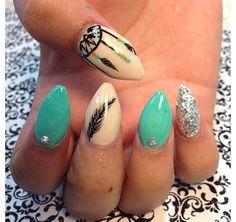 Dream catcher nail design witch nail, dream catchers, dream catcher nail designs, blue, pointy nail designs, pointy nails designs, dream catcher nails design