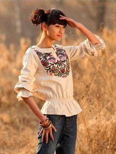 Nextwholesale.com…..new arrival…the most popular #clothing in #China,   #shirt,#dress,#pant,#tops  #Wholesale embroidered trumpet sleeve flax blouses