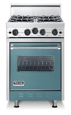 Classic 24 Inch Four Burner Gas Range - Viking. Blue.