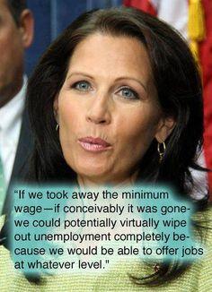 Michelle Bachman fails economics forever.   say what??