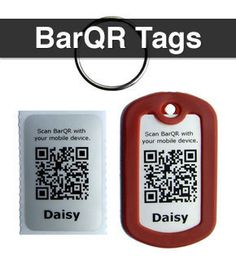 BarQR Tags from DogHeirs help dogs get home safely using QR technology. When scanned by smart phones or mobile devices, it directly links to your dog's profile on DogHeirs.com.  Visit www.dogheirs.com/barqr for details.
