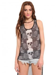 Black, sheer tank featuring skull and feather graphics at the front and a solid black back