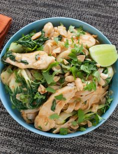 Stir-Fried Chicken Pad Thai Noodles with Baby Tatsoi & Spicy Peanut Sauce
