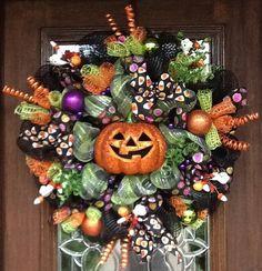 Deco Mesh Happy Halloween JACKOLANTERN Wreath by decoglitz on Etsy