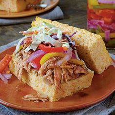 Sweet Potato Cornbread | Sandwich your favorite barbecue topped with Pickled Peppers & Onions between slices of the cornbread for a change of pace, or serve alongside your favorite meal as you would regular cornbread. | SouthernLiving.com