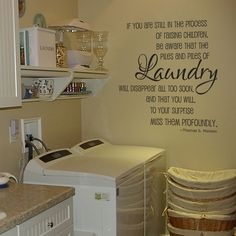 Laundry Room Signs Wall Decor | Laundry piles laundry room vinyl wall decal by GrabersGraphics