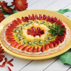 Favorite fruit pizza recipe!  I use sugar free pudding, jello, cool whip and add blueberries, blackberries, and mandarin oranges.  So good!!