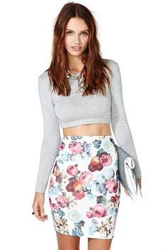 skirt crop, summer fling, fashion, summer outfit, cloth, style, crop tops, rose tattoos, pencil skirts