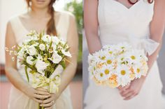 Two different daisy wedding bouquets | What to include in your florist contract | Green Bride Guide
