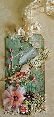 Immensely pretty tag with such cute, shabby chic embellishments. #tag #scrapbooking #crafts #shabby_chic #bird
