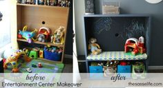 Play Center with chalk board backdrop from an upcycled entertainment center.  The Sasse Life: Entertainment Center Makeover