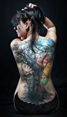 Colored Tree Back Tattoo #Tattoo #Tattoos