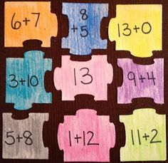 TheHappyTeacher Blog: Addition Math Puzzles!  Help students master their basic facts!