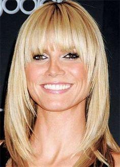 hairstyles, face shapes, heidi klum, blond, beauti, bangs, layered hair, fringes, medium