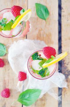 Raspberry basil limoncello cocktail.