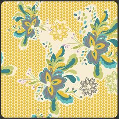 Flower Pop in Zesty from LillyBelle by Bari J. for Art Gallery Fabrics - Half Yard. $4.90, via Etsy.