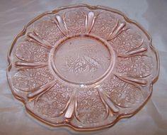 plates, glasses, depress glasspink, pink glass, glass plate