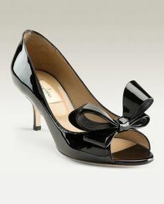 Valentino patent bow kitten heels
