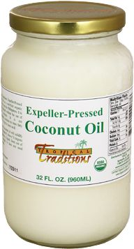 Buy 1 Get 1 FREE Expeller-Pressed Coconut Oil - Certified Organic - 32 oz from Tropical Traditions. This certified organic coconut oil is expeller-pressed and steam deodorized for a bland taste that is perfect for cooking.