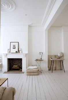 #living room #fireplace #wood floor #white