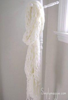 Arm Knit Fringe Scarf