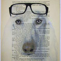 $10 Clever Afghan hound - ORIGINAL ARTWORK Mixed Media, Hand Painted on 1920 famous Parisien Magazine 'La Petit Illustration' by Coco De Paris    ...BTW,Please Check this out:  http://artcaffeine.imobileappsys.com