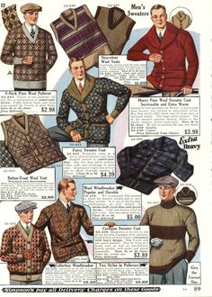 1920's Mens Sweater History - 1928- By the late 1920′s the trend was for small patterns on mens sweaters. They were still gaudy but tamer color combinations than the mid years.  http://www.vintagedancer.com/1920s/1920s-mens-sweaters/