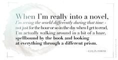 Colin Firth about reading