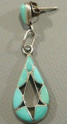 Vintage 1960's ZUNI Old Pawn Turquoise Inlay & Sterling Silver Dangle Earrings SLEEPING BEAUTY TURQUOISE - HAND CARVED TEAR DROP TOPS