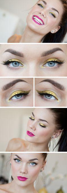 linda hallberg, makeup geek, aqua eye makeup, makeup ideas, pink lips, beauti, liquid gold, gold accents, gold eye