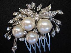 Wedding pearl hair comb, bridal hair accessories,wedidng hair comb rhinestone,bridal hair comb crystal,wedding comb,bridal comb,headpieces on Etsy, $29.00