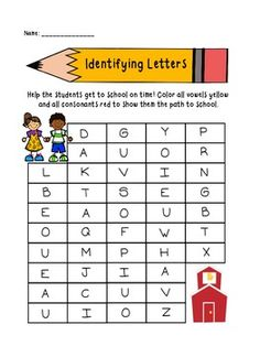 Back to School Identifying Letters FREEBIE! Your students will enjoy this activity! Help the students get to school on time by coloring all vowels yellow and all consonants red to reveal the path to school. Perfect any time of year!