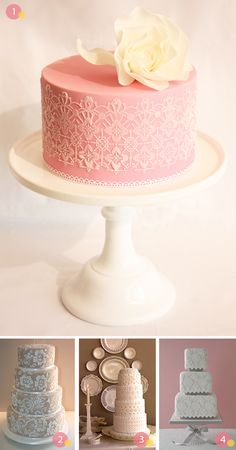 vintage lace inspired cakes