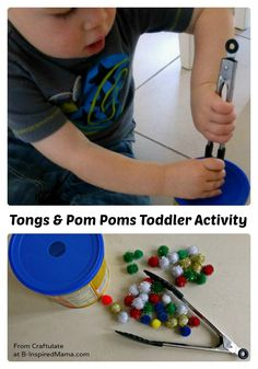 Tongs and Pom Poms Toddler Activity from Craftulate at B-InspiredMama.com  #toddler #kids #finemotor #kbn
