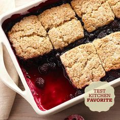 The BHG Test Kitchen agrees! This Black-and-Blue Cobbler with Brown Sugar-Pecan Biscuits is a hit for the holidays! Get the full recipe here: http://www.bhg.com/recipes/from-better-homes-and-gardens/our-favorite-better-homes-and-gardens-winter-recipes/?socsrc=bhgpin102414blackandbluecobbler&page=16