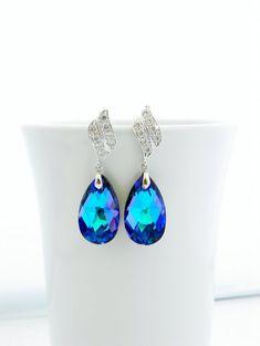 Purple Swarovski Earrings Heliotrope Crystal by EstyloJewelry, $40.00