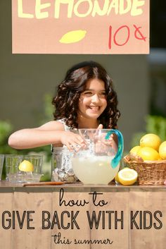 From lemonade stands to busy bags - five ways to give back with your kids this summer! Love these ideas!