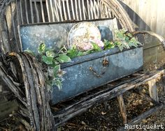 Galvanized tool box in a rustic chair!