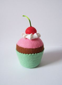 Felt chocolate and cherry cupcake pincushion play by Hippywitch, £5.00