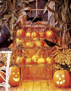 Message in pumpkins.  Halloween Party Decorating Ideas - Spooky Halloween Party Decorations - Country Living
