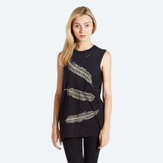 Feathers Sleeveless T-shirt - £30  WWW.DROPDEAD.CO