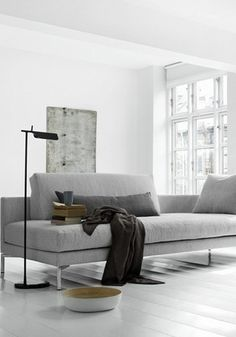 = grey sofa and black floor lamp