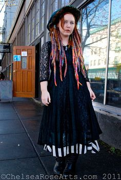 Colorful, wrapped dreadlocks. #dreadstop