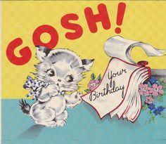 cats, birthday card, 1950s vintag, happy birthdays, greet card, dates, vintag card, vintag greet, vintage greeting cards