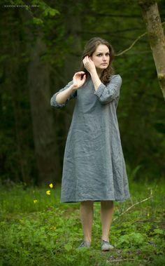Grey Linen Trapeze Dress from KnockKnockLinen