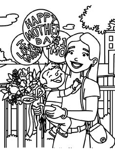 Celebrating Mom Coloring Page