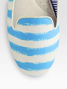 Charles Philip Shanghai - Tropez Striped Cotton Smoking Slippers