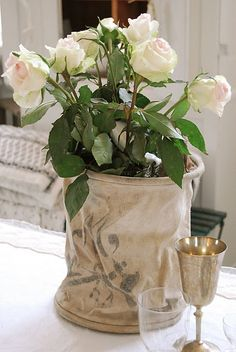canvas pot cover with lovely flowers
