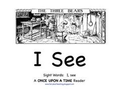 """I See"" Sight Word Reader for Goldilocks and the 3 Bears (free)"